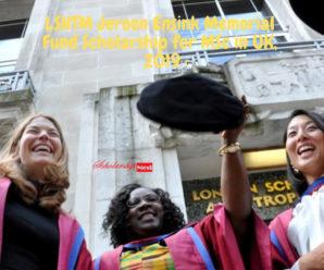 LSHTM Jeroen Ensink Memorial Fund Scholarship for MSc in UK, 2019
