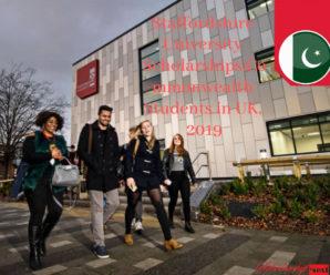 Staffordshire University Scholarships,Commonwealth Students in UK, 2019
