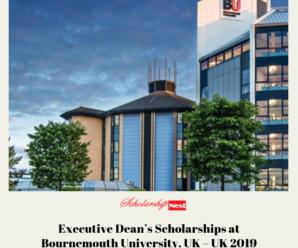Executive Dean's Scholarships at Bournemouth University, UK – UK 2019