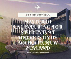 Master of Engineering  for Students at University of Waikato, New Zealand