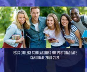 Jesus College Scholarships for Postgraduate Candidate 2020-2021