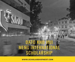 Dato Kho Hui MengInternational Scholarship in Singapore, 2020
