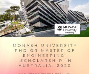 Monash University PhD or Master of Engineering  Scholarship in Australia, 2020