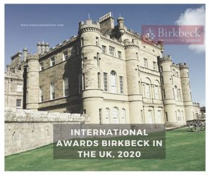 international awards Birkbeck in the UK, 2020