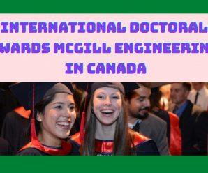 International Doctoral Awards McGill Engineering in Canada