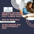 Swansea University Energy Innovation Fully-Funded KESS II MSC by Research Scholarships for UK/EU Students, 2020